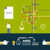 Uppsättning av den plana designsymbolen för experiment stock illustrationer