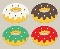Uppsättning av den plana donutssymbolen Royaltyfri Bild