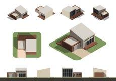 Uppsättning av den plana isolerade skapelsen för husbyggnadssats, detaljerad stads- och lantlig husbegreppsdesign i överkant, sid Arkivbild