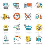 Uppsättning av den plana linjen designsymboler av den grafiska designen, website och app-design och utveckling royaltyfri illustrationer