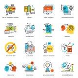 Uppsättning av den plana linjen designsymboler av online-utbildning och e-att lära stock illustrationer