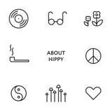 Uppsättning av den plana linjen hippysymboler Moderna pictograms vektor illustrationer