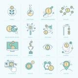 Uppsättning av den plana linjen symboler för finans Royaltyfri Fotografi