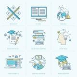 Uppsättning av den plana linjen symboler för online-utbildning Arkivbild