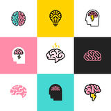 Uppsättning av den plana linjen symboler och logoer av hjärnan, idékläckning, idé royaltyfri illustrationer