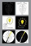 Uppsättning av den plana symbolen med hjärnan Royaltyfri Foto