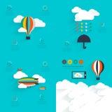 Uppsättning av den plana vektordesignen av den startup processen, molnlagring, Fotografering för Bildbyråer