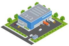 Uppsättning av den plana vektorn på temat av logistiken, leverans, lager, frakt, last, trans. Lagring av godor royaltyfri illustrationer