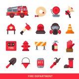 Uppsättning av den planlagda symboler för brandstation för brandman beståndsdelar färgade nöd- och brandmannen för utrustning för stock illustrationer