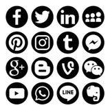 Uppsättning av den populära sociala symbolen för rengöringsduk för massmedialogovektor Arkivbild