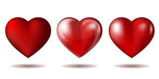 Uppsättning av den röda hjärtasymbolen på vit Arkivfoton