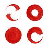 Uppsättning av den röda runda beståndsdelen för design Fotografering för Bildbyråer