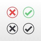 Uppsättning av den röda symbolen för fläck för kontroll för symbol för gräsplansvartcirkel på genomskinlig bakgrund Godkänn och a Royaltyfria Bilder
