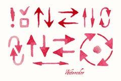 Uppsättning av den röda vattenfärgpilen vektor illustrationer