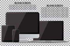 Uppsättning av den realistiska datorbildskärmen, bärbara datorn, minnestavlan och mobiltelefonen med den tomma svarta skärmen på  royaltyfri illustrationer