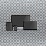 Uppsättning av den realistiska datorbildskärmen, bärbara datorn, minnestavlan och mobiltelefonen med den tomma svarta skärmen royaltyfri illustrationer