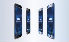 Uppsättning av den realistiska illustrationen för pekskärm för vektorAndroid mobiltelefon royaltyfri illustrationer
