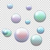 Uppsättning av den realistiska kulöra genomskinliga såpbubblan Arkivfoton