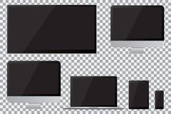 Uppsättning av den realistiska TV, lcd som ledas, datorbildskärmen, bärbara datorn, minnestavlan och mobiltelefonen med den tomma stock illustrationer