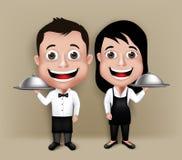 Uppsättning av den realistiska uppassaren 3D och servitrins Characters Arkivfoto
