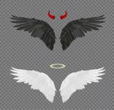 Uppsättning av den realistiska vingar för ängel och för jäkel, horn och glorien som isoleras Arkivbild