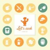 Uppsättning av den rena linjen symboler som presenterar olik köksgeråd och lagar mat släkta objekt royaltyfri illustrationer
