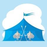 Uppsättning av den roliga medeltida riddaren för former med ett spjut och en sköld i handbakgrunden på tältet på vit bakgrund Royaltyfria Bilder