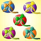 Uppsättning av den runda gåvan Royaltyfri Illustrationer