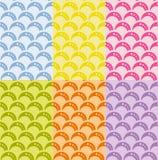 Uppsättning av den sömlösa geometriska modellen med vågor i retro stil, mjuka färger. Fotografering för Bildbyråer
