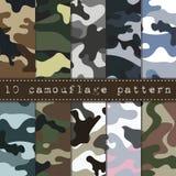 Uppsättning av den sömlösa kamouflagemodellen Royaltyfri Bild