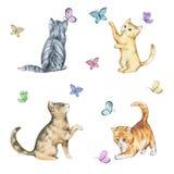 Uppsättning av den sömlösa modellen för vattenfärg med gulliga kattungar stock illustrationer