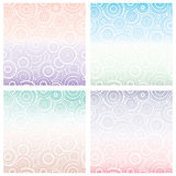 Uppsättning av den sömlösa modellen med vita cirklar av det olika formatet på lutningbakgrund geometrisk bakgrund Royaltyfri Fotografi