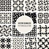 Uppsättning av den sömlösa svartvita rundade geometriska modellsamlingen för sexton vektor Fotografering för Bildbyråer