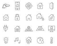 Uppsättning av den smarta hem- linjen vektorsymboler vektor illustrationer