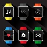 Uppsättning av den smarta klockasymbolen också vektor för coreldrawillustration Royaltyfria Foton