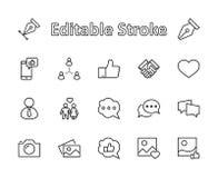 Uppsättning av den sociala nätverk släkta vektorlinjen symboler Innehåller sådana symboler som profilerar sidan, värderingen, sam vektor illustrationer