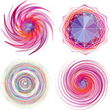 Uppsättning av den spiral vektorn för fyra färg. Royaltyfria Foton