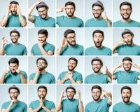 Uppsättning av den stiliga emotionella mannen arkivfoton