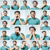 Uppsättning av den stiliga emotionella mannen arkivfoto