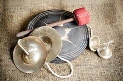 Uppsättning av den thailändska cymbalen Arkivbilder
