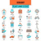 Uppsättning av den tunna linjen ekologisk energikälla för symboler, miljö- säkerhet Fotografering för Bildbyråer