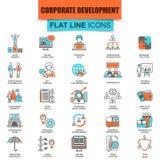Uppsättning av den tunna linjen företags utveckling för symboler Arkivbilder