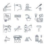 Uppsättning av den tunna linjen hem- anordningar för symboler, elkraft, teknologi royaltyfri illustrationer