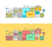 Uppsättning av den tunna linjen lägenhetdesignbegrepp på temat av online-shopping Arkivfoto