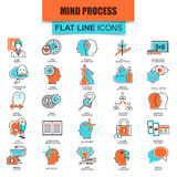 Uppsättning av den tunna linjen process för mänsklig mening för symboler, hjärnsärdrag och sinnesrörelser Royaltyfri Fotografi