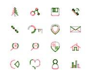 Uppsättning av den tunna linjen rengöringsduksymboler stock illustrationer