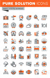 Uppsättning av den tunna linjen rengöringsduksymboler av hotellservice och lättheter royaltyfri illustrationer