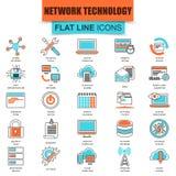 Uppsättning av den tunna linjen service för teknologi för symbolsmolndata Fotografering för Bildbyråer