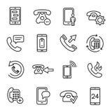 Uppsättning av den tunna linjen symboler för 25 telefon royaltyfri illustrationer