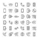Uppsättning av den tunna linjen symboler för 36 telefon vektor illustrationer